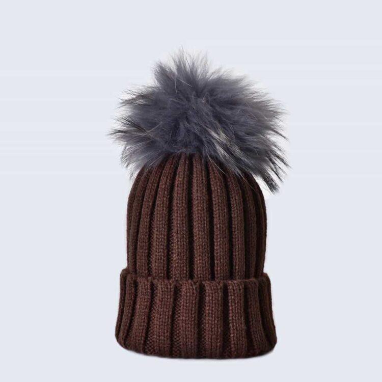 Chocolate Hat with Grey Fur Pom Pom
