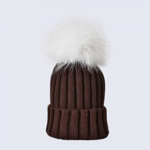 Chocolate Hat with White Fur Pom Pom