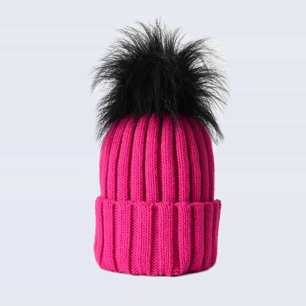 Fuchsia Hat with Black Faux Fur Pom Pom