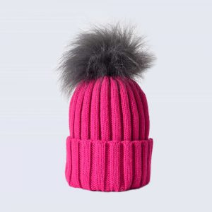 Fuchsia Hat with Grey Faux Fur Pom Pom