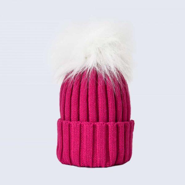 Fuchsia Hat with White Faux Fur Pom Pom
