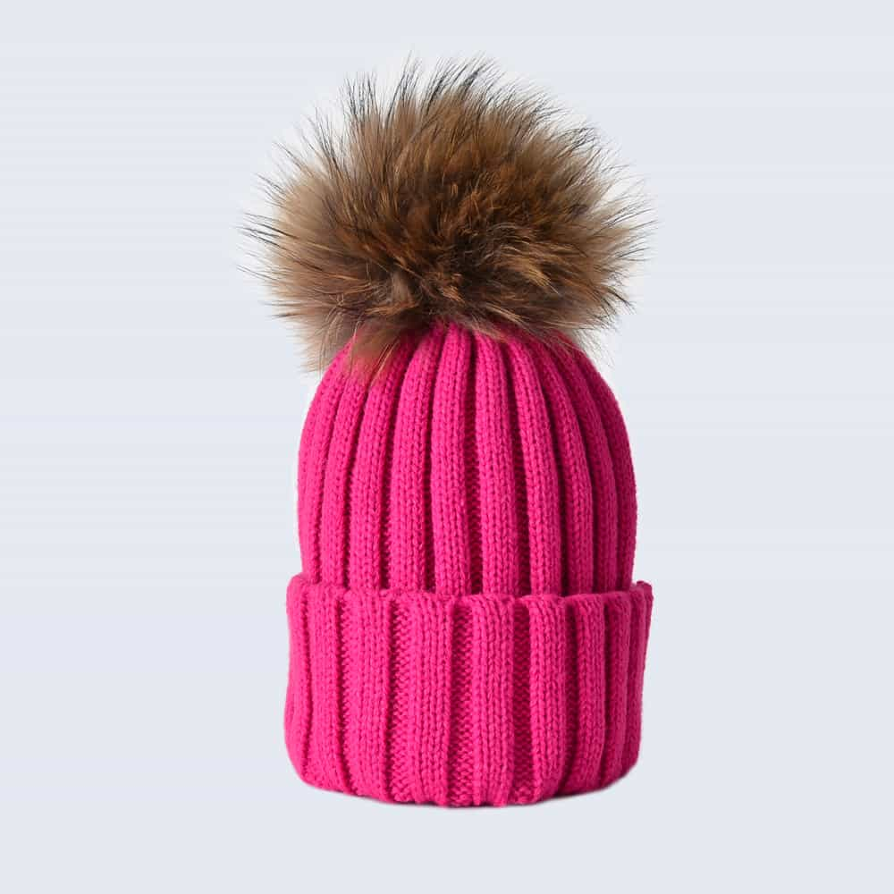 Fuchsia Hat with Brown Fur Pom Pom