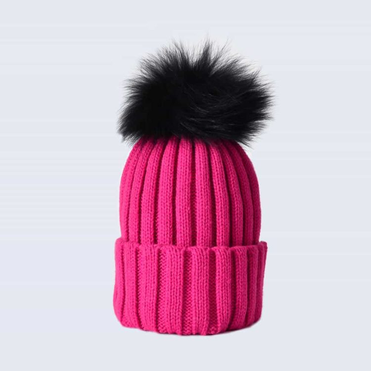 Fuchsia Hat with Black Fur Pom Pom