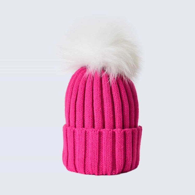Fuchsia Hat with White Fur Pom Pom