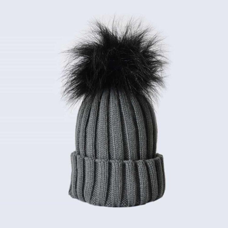 Grey Hat with Black Faux Fur Pom Pom
