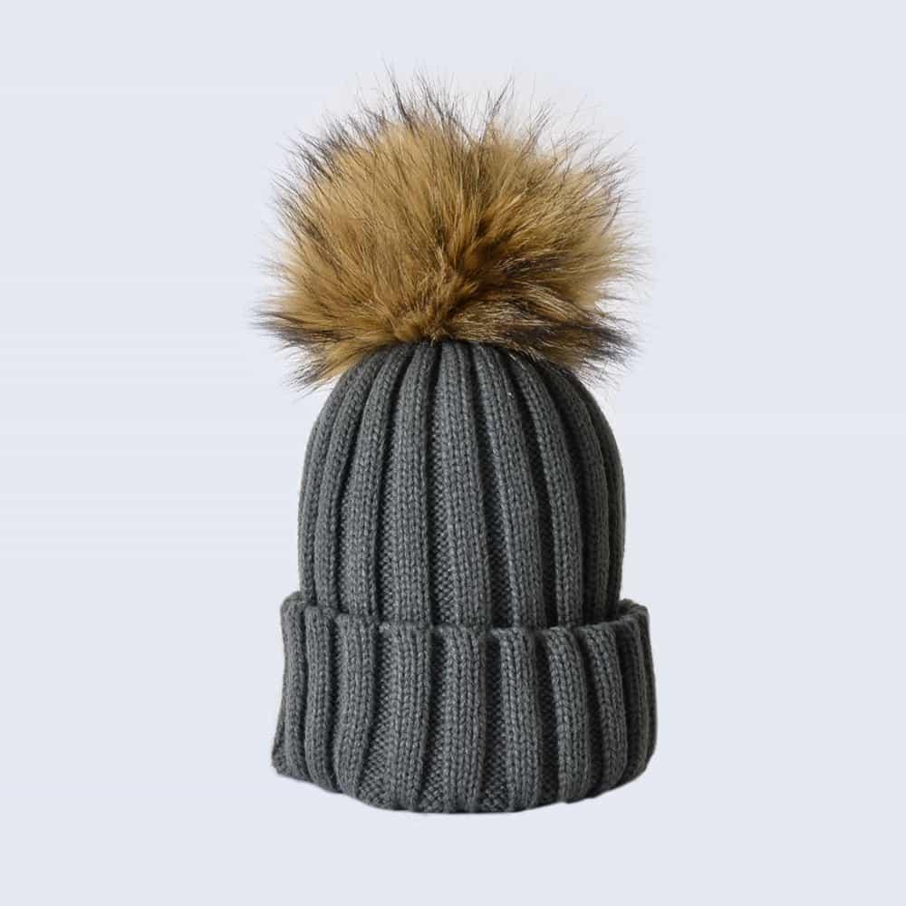 Grey Hat with Brown Faux Fur Pom Pom