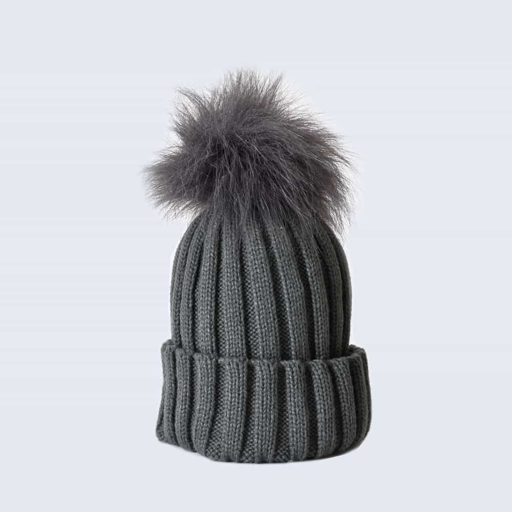 Grey Hat with Grey Faux Fur Pom Pom