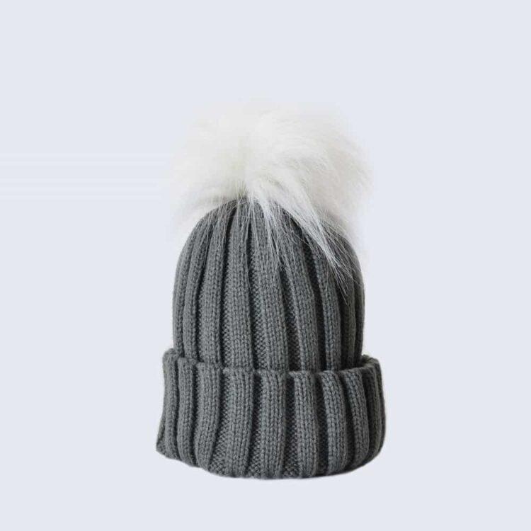 Grey Hat with White Faux Fur Pom Pom