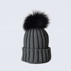 Grey Hat with Black Fur Pom Pom