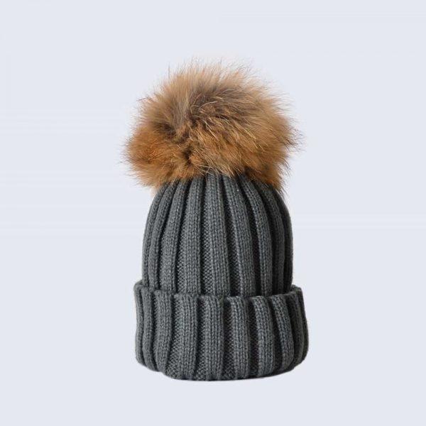 Grey Hat with Brown Fur Pom Pom