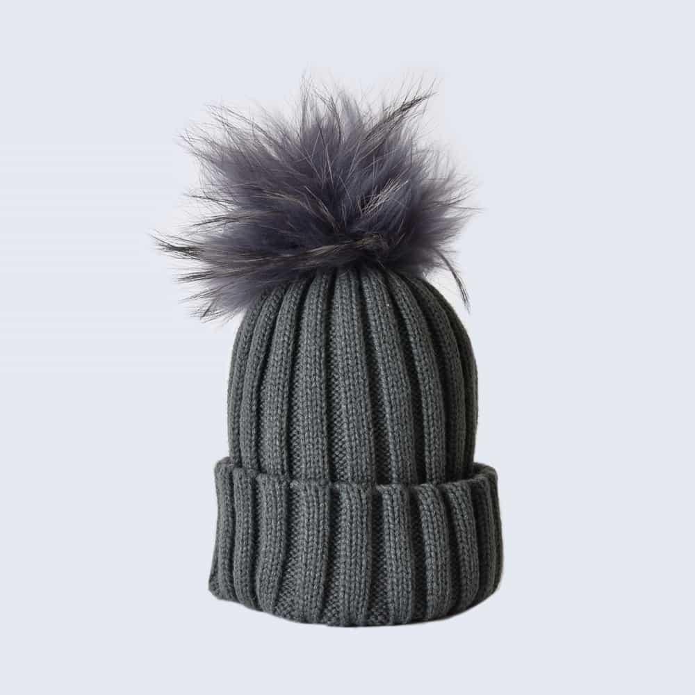 Grey Hat with Grey Fur Pom Pom