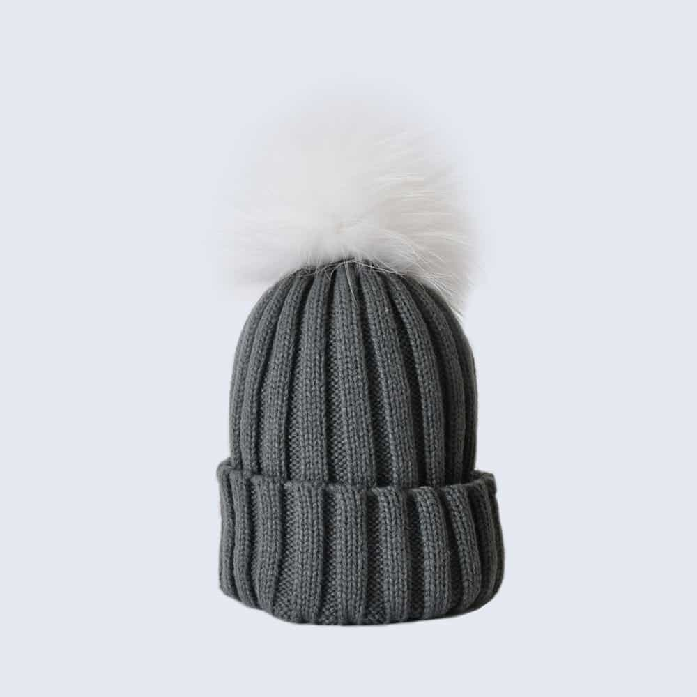 Grey Hat with White Fur Pom Pom