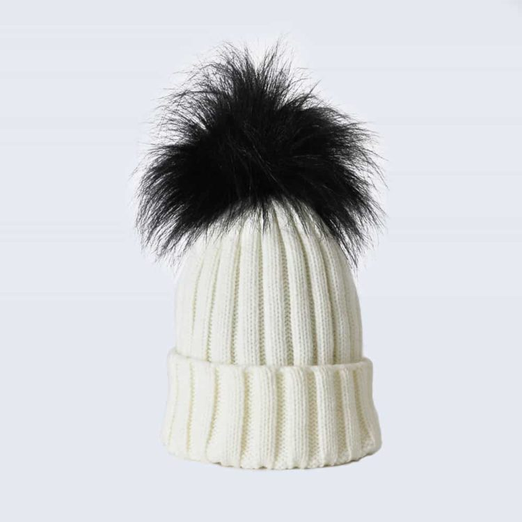 Ivory Hat with Black Faux Fur Pom Pom