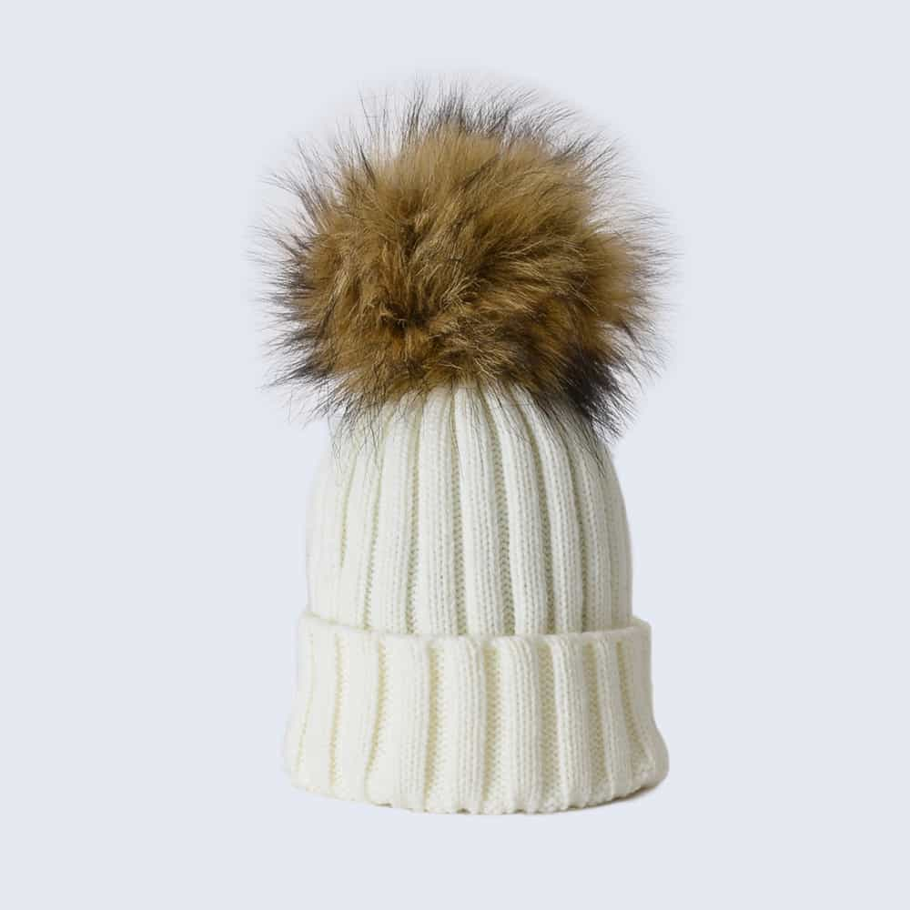 Ivory Hat with Brown Faux Fur Pom Pom