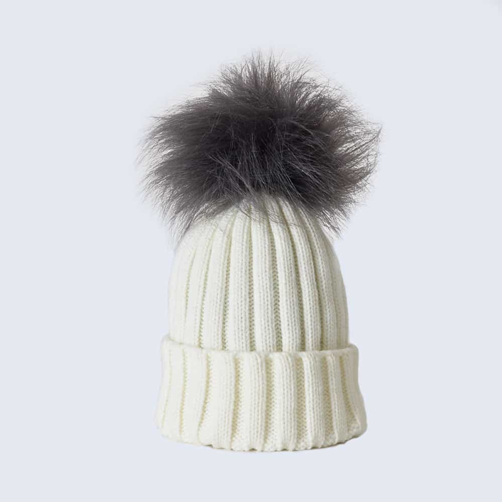 Ivory Hat with Grey Faux Fur Pom Pom