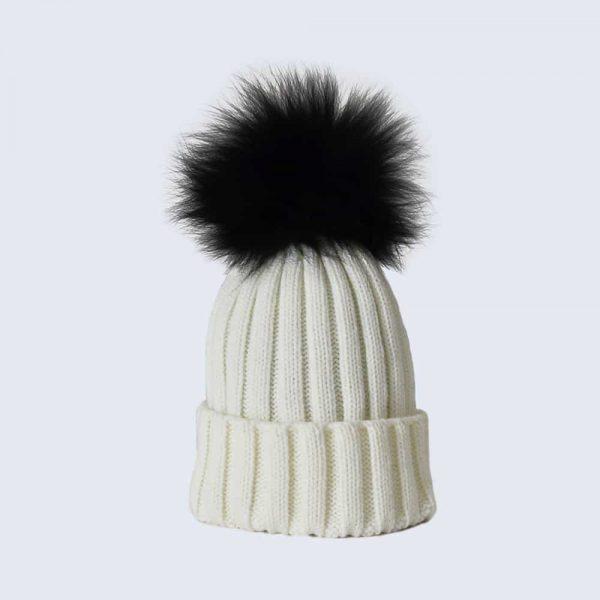 Ivory Hat with Black Fur Pom Pom