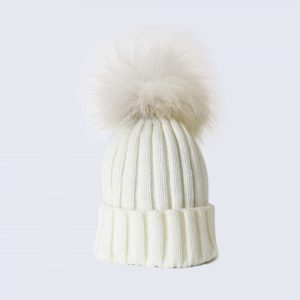 Ivory Hat with White Fur Pom Pom