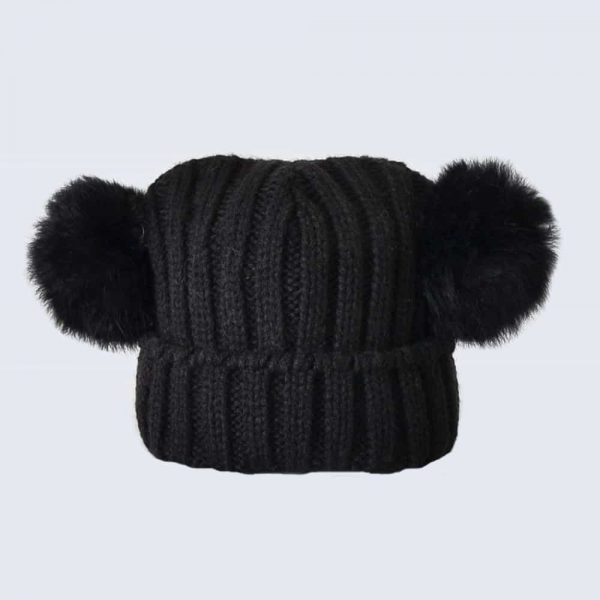 Tiny Tots Black Double Pom Pom Hat