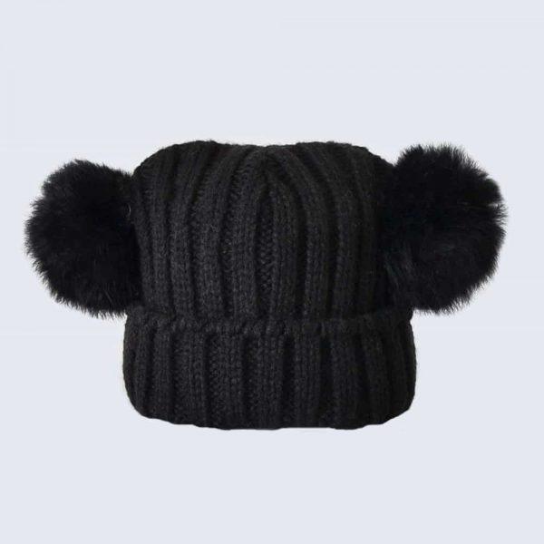 Tiny Tots Black Double Pom Pom Hat » Amelia Jane London c7648f468e32