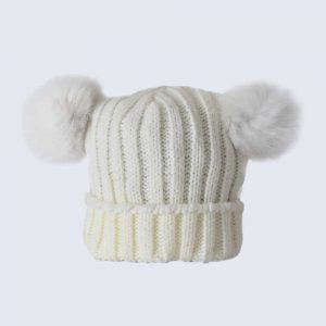 Tiny Tots Ivory Double Pom Pom Hat