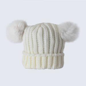 Tiny Tots Ivory Double Pom Pom Hat