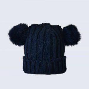 Tiny Tots Navy Double Pom Pom Hat