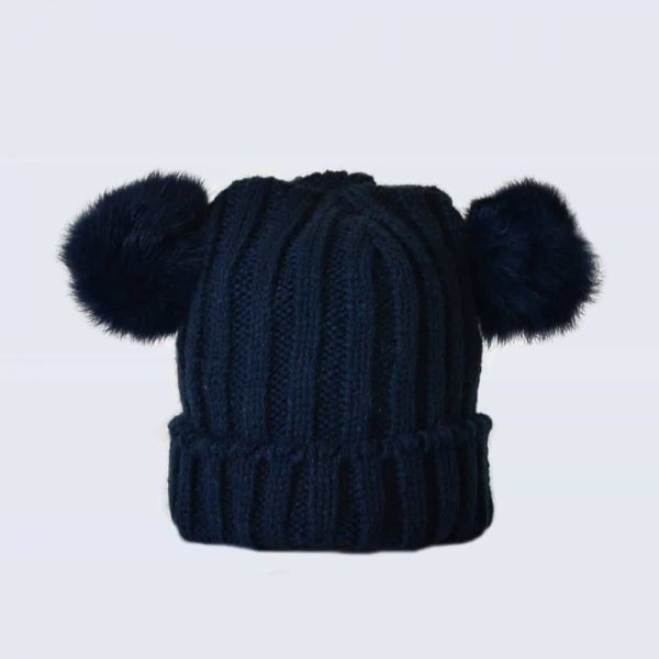 87976dc4e26 Tiny Tots Navy Double Pom Pom Hat » Amelia Jane London