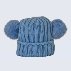 Tiny Tots Sky Blue Double Pom Pom Hat