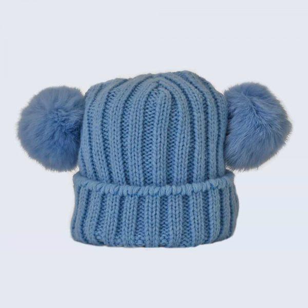 Tiny Tots Sky Blue Double Pom Pom Hat