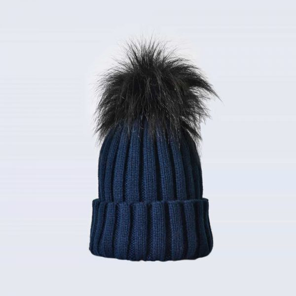 Navy Hat with Black Faux Fur Pom Pom