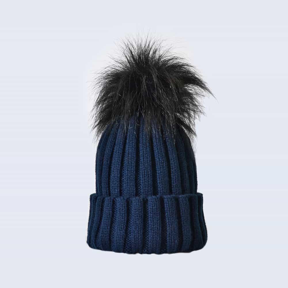 Navy Hat with Black Faux Fur Pom Pom