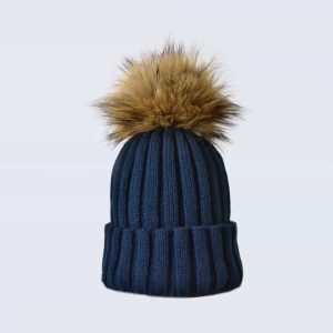 Navy Hat with Brown Faux Fur Pom Pom