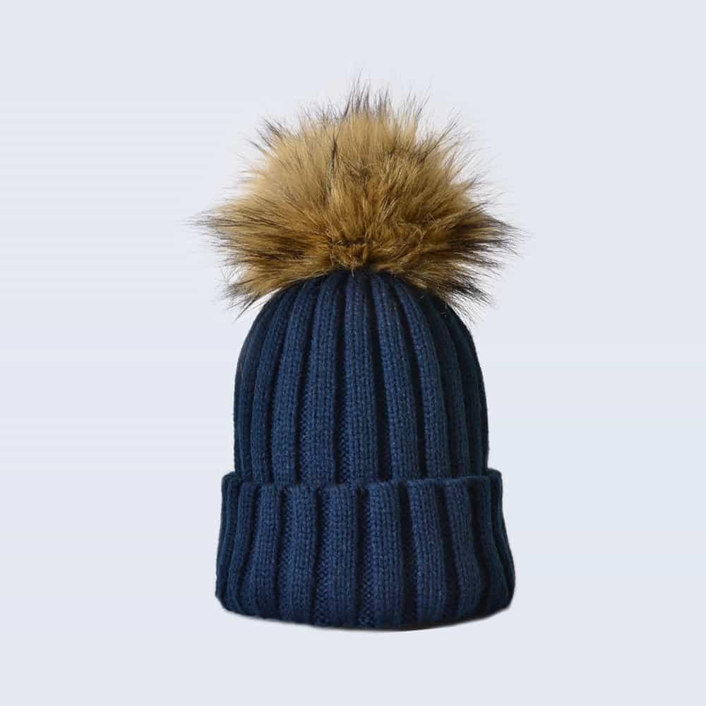 Navy Hat with Brown Faux Fur Pom Pom
