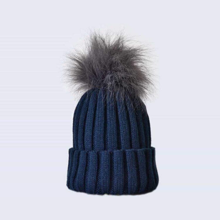 Navy Hat with Grey Faux Fur Pom Pom