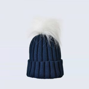 Navy Hat with White Faux Fur Pom Pom