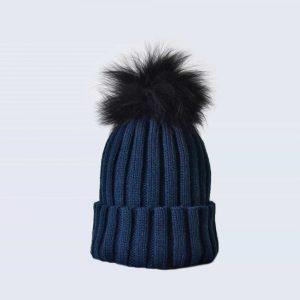 Navy Hat with Black Fur Pom Pom