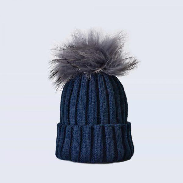 6303d1f206e Navy Hat with Grey Fur Pom Pom » Amelia Jane London