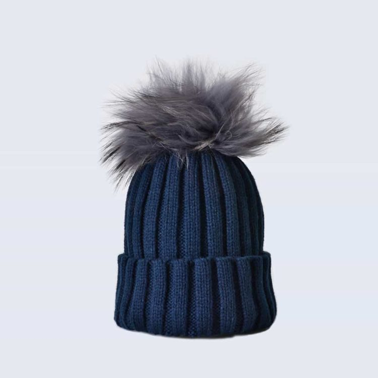 Navy Hat with Grey Fur Pom Pom