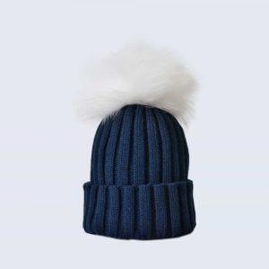 Navy Hat with White Fur Pom Pom