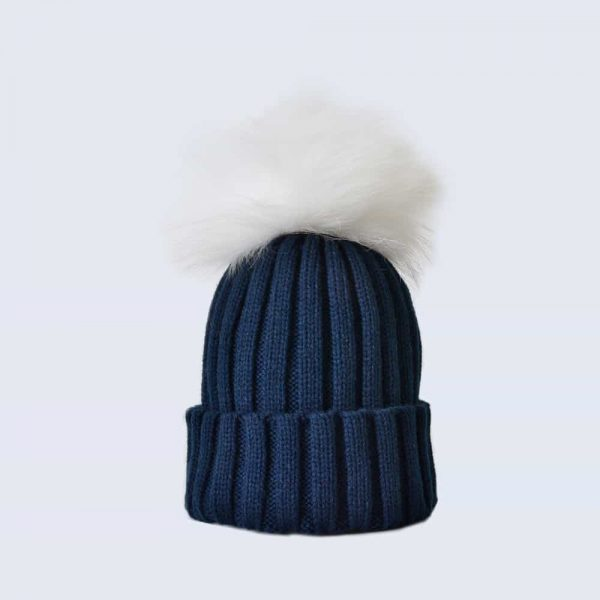 Navy Hat with White Fur Pom Pom » Amelia Jane London cd745a60837