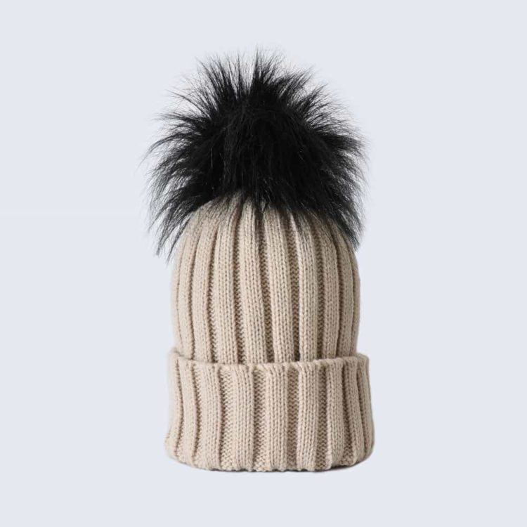 Oatmeal Hat with Black Faux Fur Pom Pom