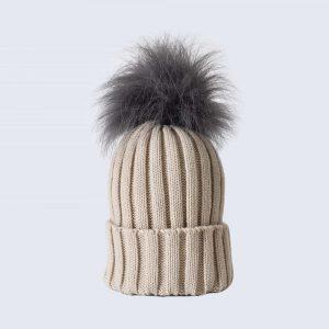 Oatmeal Hat with Grey Faux Fur Pom Pom