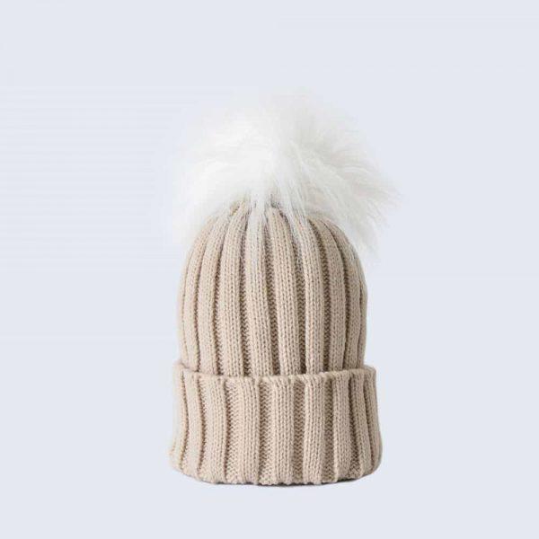 Oatmeal Hat with White Faux Fur Pom Pom