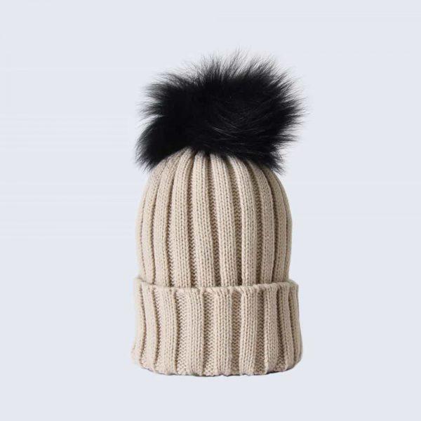 Oatmeal Hat with Black Fur Pom Pom