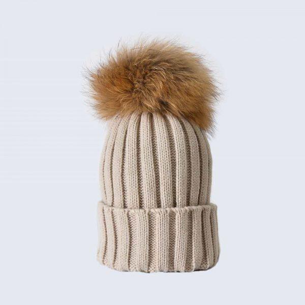 Oatmeal Hat with Brown Fur Pom Pom