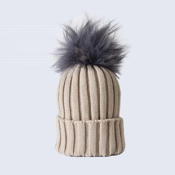 Oatmeal Hat with Grey Fur Pom Pom