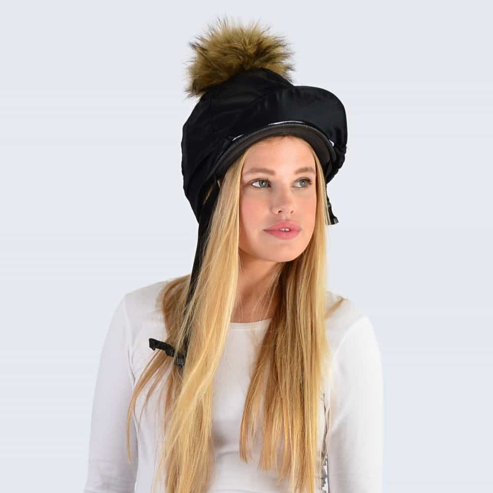 Black Hat Silk with Brown Faux Fur Pom Pom