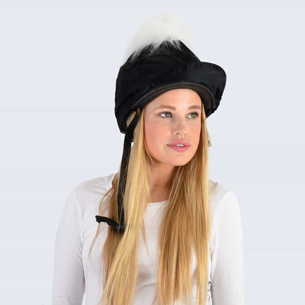Black Hat Silk with White Faux Fur Pom Pom