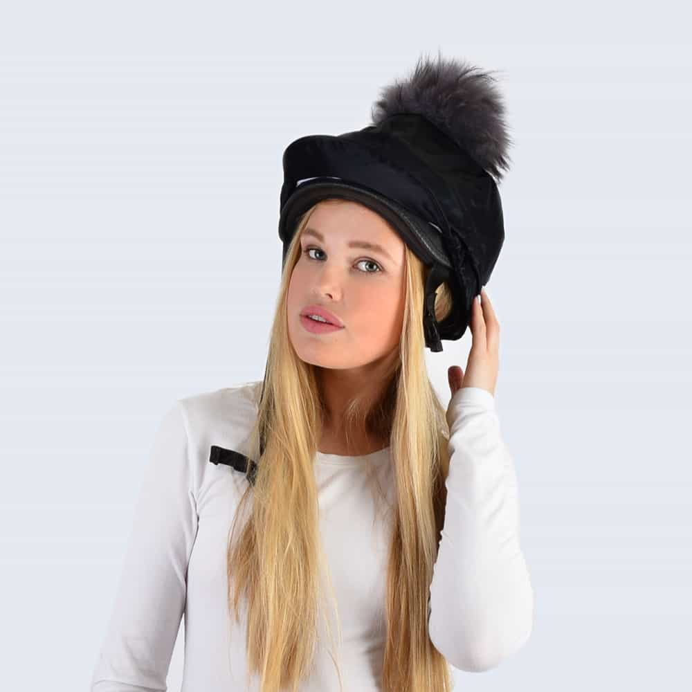 Black Hat Silk with Grey Fur Pom Pom