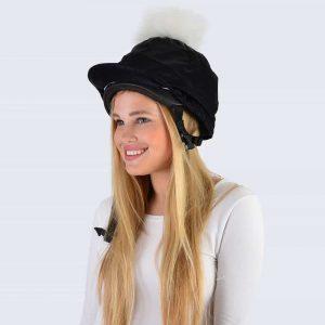 Black Hat Silk with White Fur Pom Pom